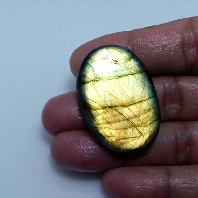 Natural Golden labradorite Cabochon Gemstone Oval 90.70cts.;#96052