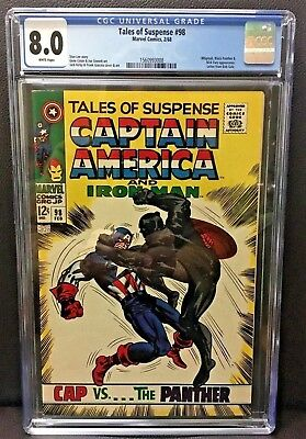 TALES OF SUSPENSE #98 CGC 8.0 CAPTAIN AMERICA vs BLACK PANTHER KIRBY & LEE 1968