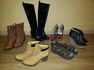 Lot of 6 pairs of Womens Shoes Size 10 Heels, Boots, Sandals