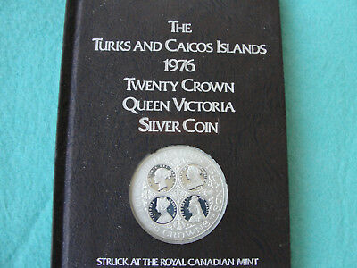 1976 Turks and Caicos Islands Victoria Twenty Crown Sterling Silver