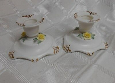 2 Adderley FLORAL Bone China Yellow Rose Candle Holders Gold Accents Vintage