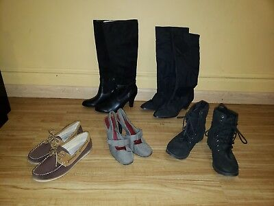Lot of 5  Women's shoes. Flats/Boots/heels SZ 8.5