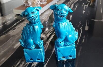 Pair Of Vintage Antique Chinese Turquoise Foo Dogs Tample Lions