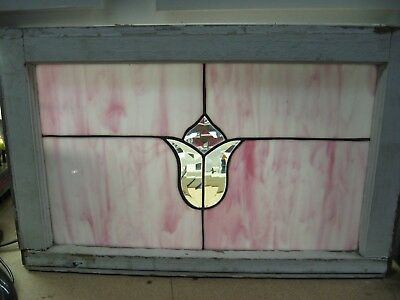 Stained Glass Window Vintage Salvage Frame Rustic Farmhouse Shabby Chic Cottage