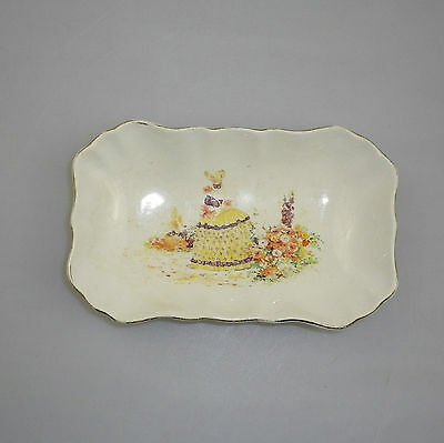 Antique Sandlands Lancaster China Pin Dish with Crinoline Lady
