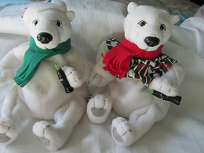 "Lot Of Two 1999 Winter ""coca Cola"" Bears Very Good Used Condition"