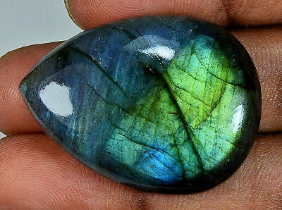 61.50cts. Natural Multi labradorite Cabochon Gemstone Pear ;#46073