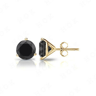 14K Yellow Gold Over 2.Ct 3 Prong Round Black Diamond Solitaire Stud Earrings