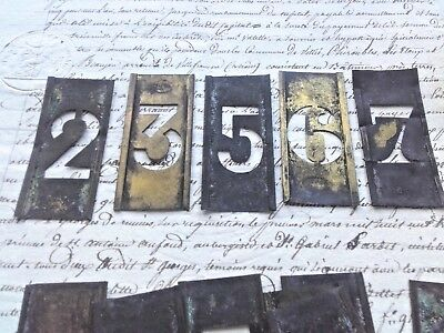 Antique vintage French Printing Stencil Brass Numbers Press Art Deco Print