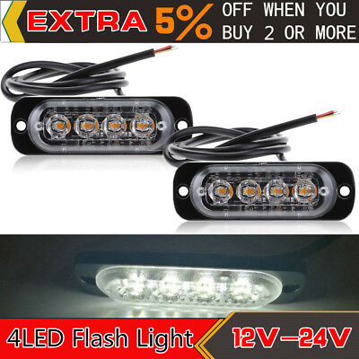 2 Pack 4LED Strobe Light Caution Emergency Flash Warning Lamp for Motorcycle Car