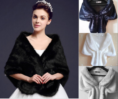 Wedding Cape Faux Fur Long Shawl Stole Wrap Shrug Scarf Party Warm Ponch Bridal
