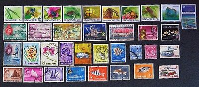 Singapore Collection Of 10 Mint & 25 Used Stamps All Different And Unhinged