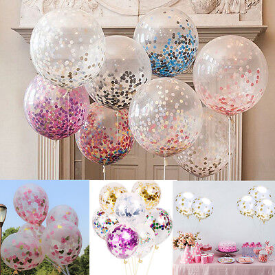 10PCS Confetti Filled Balloons Birthday Hen Party Wedding  Baby Girl Boy Balloon