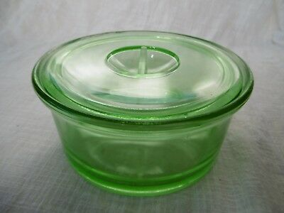 Depression Green Glass Round Fridge Container with Lid