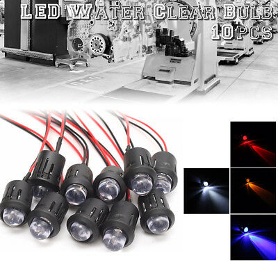 10Pcs 12V 10mm Pre-Wired Constant LED Ultra Bright Water Clear Bulbs 4 Colors US