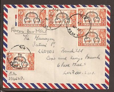 Nigeria 1954 Force Airmail cover. The Royal Lancers ?