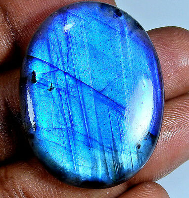 Natural Blue labradorite Cabochon Gemstone Oval 75.80cts.;#44786