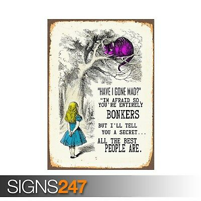 ALICE IN WONDERLAND WERE ALL BONKERS (ZZ006)  RETRO POSTER - Poster A0 A1 A2 A3