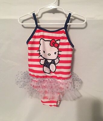 """Girls Sz 3T """"Hello Kitty"""" One Pc. Swimsuit with tutu. Toddler red white and blue"""