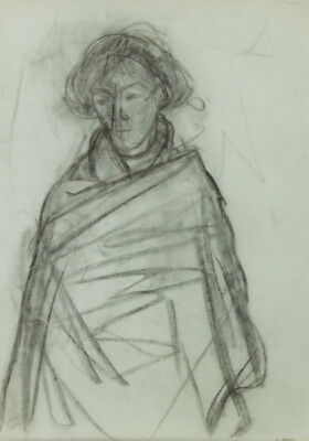 Mark Ivan Clark - Contemporary Charcoal Drawing, Woman in Blanket