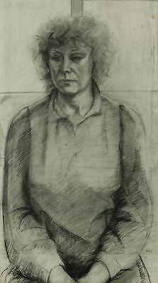 Mark Ivan Clark - Contemporary Charcoal Drawing, Woman in Window