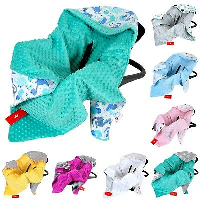 CAR SEAT BABY BLANKET /COSYTOES / all season / MINKY / COTTON / NEW - Reversible
