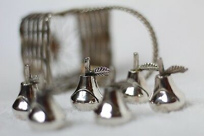 6x Vintage French Silver Plate Menu / Place Card Holders - Pears