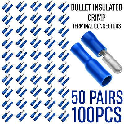 50pcs Blue Bullet Crimp Male Female M/F Connectors Terminal Insulated Wire Set