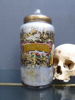 Rare Antique Victorian Reverse Painted Glass Chemist Apothecary Jar