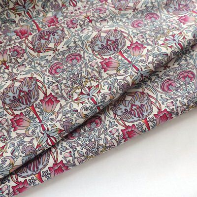 William Morris Style Lodden Pink LAWN Cotton Fabric 140cm Dress Quilting Craft