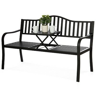 Metal Garden Bench Cast Iron Patio Furniture Porch Seat Adjustable Table Steel