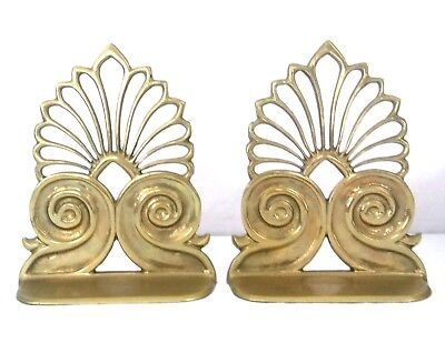 Vintage Solid Brass Book Ends Taiwan ROC Mid Century Modern