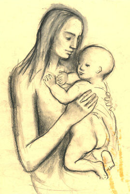 Barbara Dorf - Mid 20th Century Charcoal Drawing, Woman Holding a Child