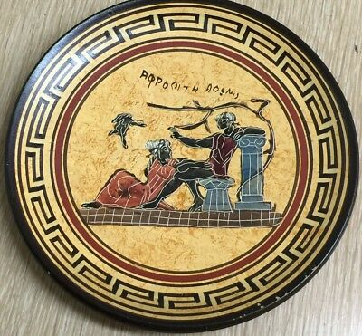 Vintage Greek Ceramic Wall Hanging Plate Hand Made In Greece 480-420 B.C.
