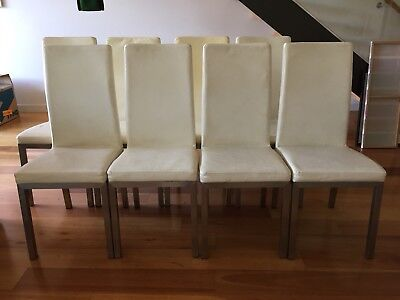 8 white dining chairs