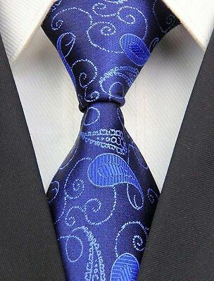 GORGEOUS STUNNING! Mens Classic Paisley Floral Silk Necktie Tie Two Tone Blue