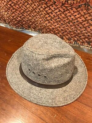 Filson Vintage Wool Packer Hat Fedora Indiana Jones Style Lght Charcoal  SMALL cbf3b0929