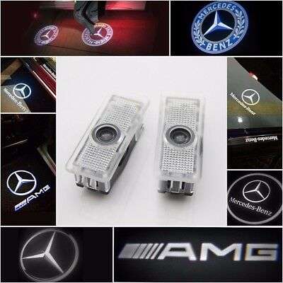 2/4X Benz CLA CLS Projector Car Door LED Courtesy Light Puddle Ghost Laser LOGO
