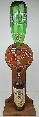 Vtg Seagrams 7 and 7 Up 7&7 Happy Hour Rotating Glass Bottle Hour Glass Display
