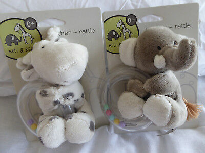 Elli And Raff Plush Baby Teether/rattle  First Soft Toy For Tiny Hands