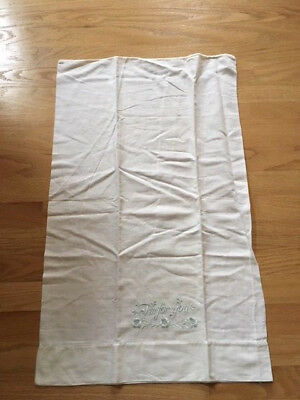 Vintage Embroidered I'm For You Pillowcase Pillow case White & Blue 18 x 29