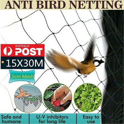 30x15m Commercial Fruit Tree Plant Knitted Anti Bird Netting Pest 5cm Mesh Hole