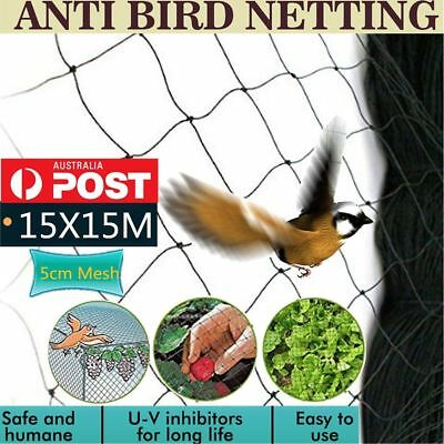 15x15m Commercial Fruit Tree Plant Knitted Anti Bird Netting Pest 5cm Mesh Hole