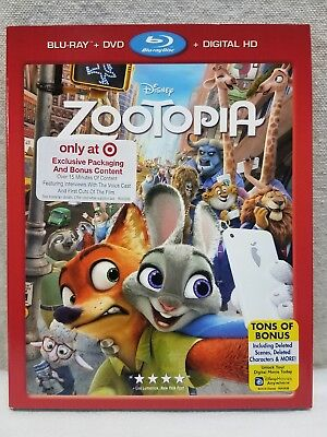 Zootopia 2016 Disney Blu-ray DVD Digital HD with Target Exclusive slipcover NEW