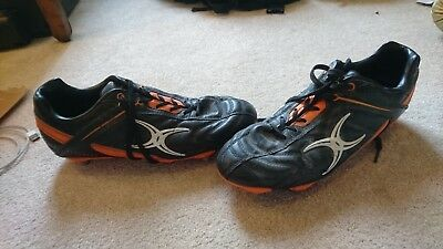 Gilbert Sidestep Barbarian Rugby BootsBlack/Orange Low Soft Toe S11 Studs