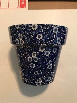 Royal Crownford Blue Calico Flower Pot Made in Staffordshire England 4x6x5""
