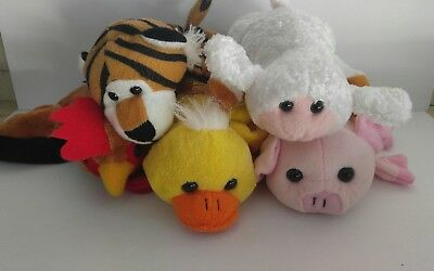 Farm Animal Puppets Plush Lot of 4 Pig Rooster Duck Lamb Extra Tiger