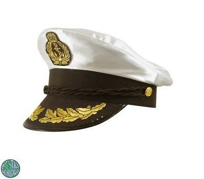 White Adult Yacht Boat Captain Hat Navy Cap Sailor Costume Satin Hat Fancy Dress