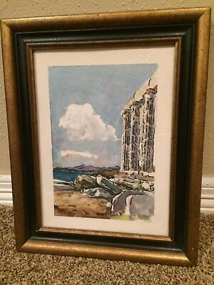 ORIGINAL WATER COLOR FRAMED  Scene of Greece reduced