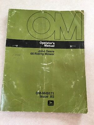 John Deere Operator's Manual 66 Riding Mower issue A5